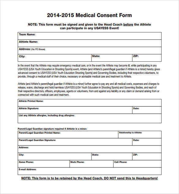 Sample Medical Consent Form   Free Documents In Pdf