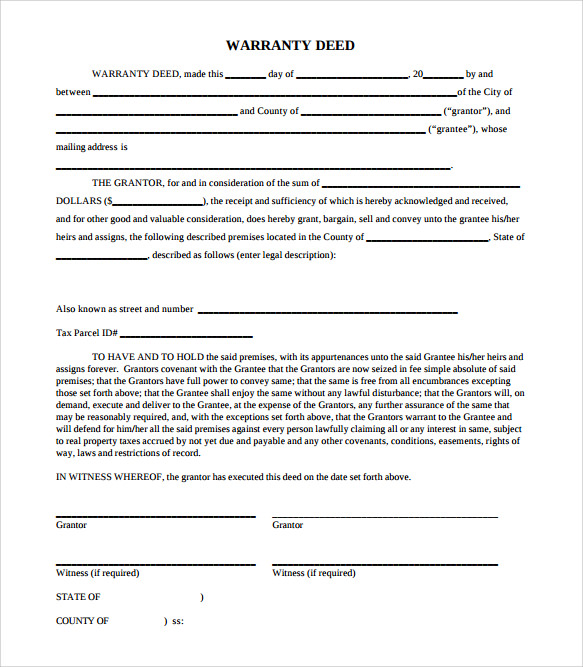 Sample Warranty Deed Form Template 9 Free Documents in PDF Word – Warranty Deed Form Template