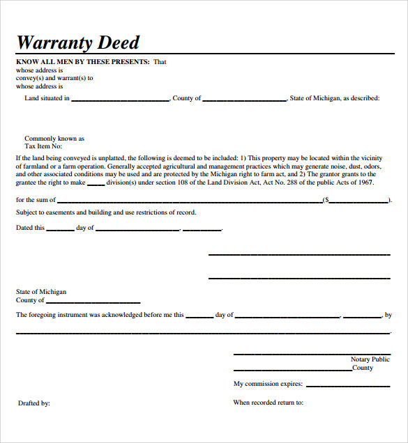 sample warranty deed form template 9 free documents in pdf word. Black Bedroom Furniture Sets. Home Design Ideas