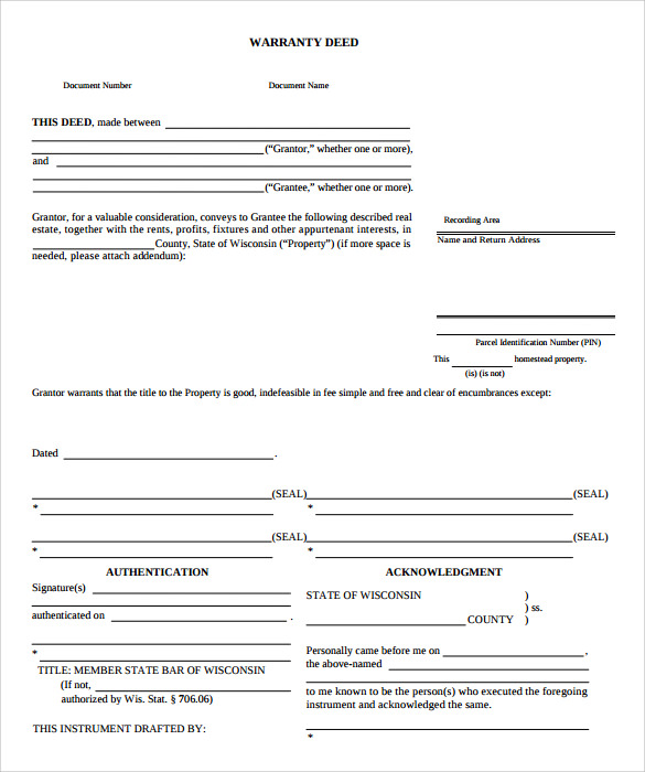 warranty deed form free