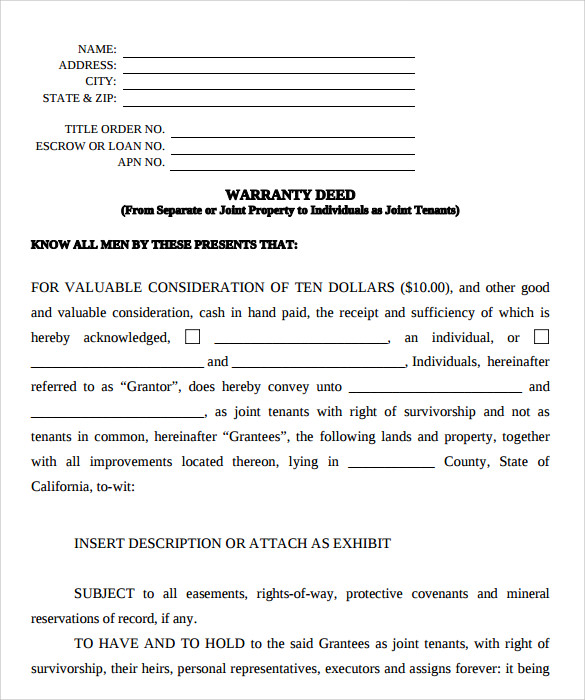 sample special warranty deed form