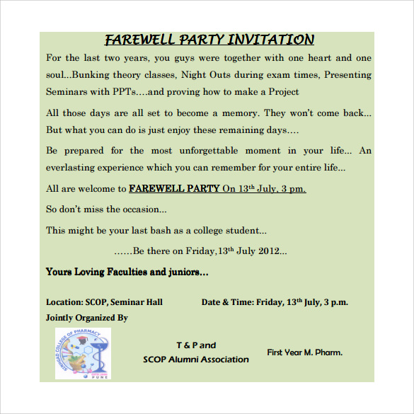Sample Farewell Invitation Template 8 Download Documents in PDF – Farewell Party Invitation Letter
