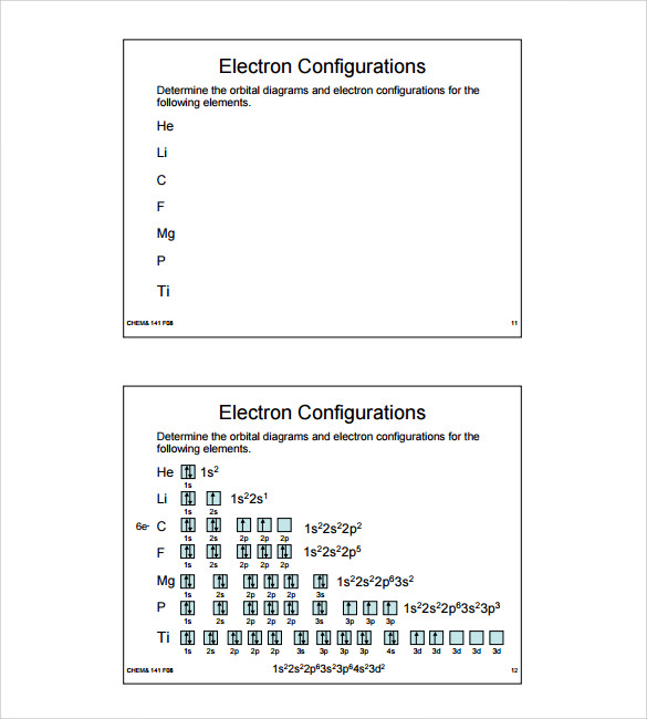 Sample Electron Configuration Chart Templates   Free Documents In Pdf