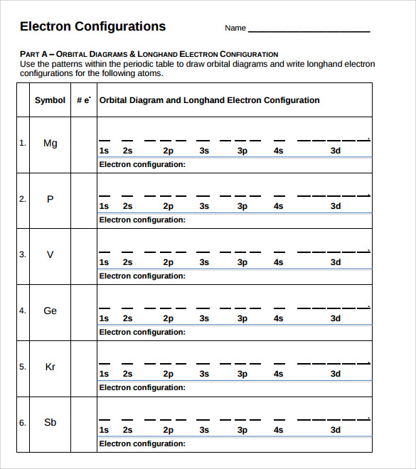 Sample Electron Configuration Chart Templates   Free Documents
