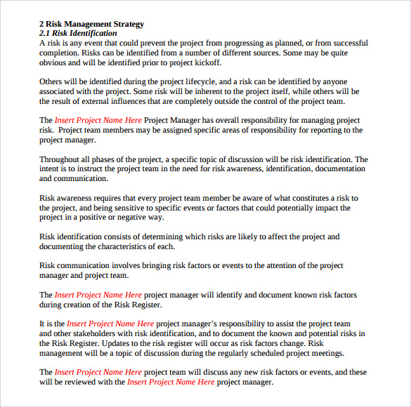 Sample Risk Management Plan Template 7 Free Documents in PDF Word – Risk Management Plan Example Template