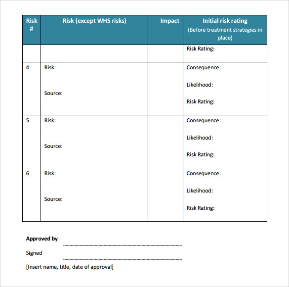 Sample Risk Management Plan Template 7 Free Documents in PDF Word – Risk Management Template Free