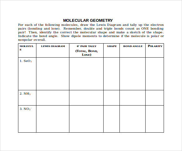 molecular geometry chart in word