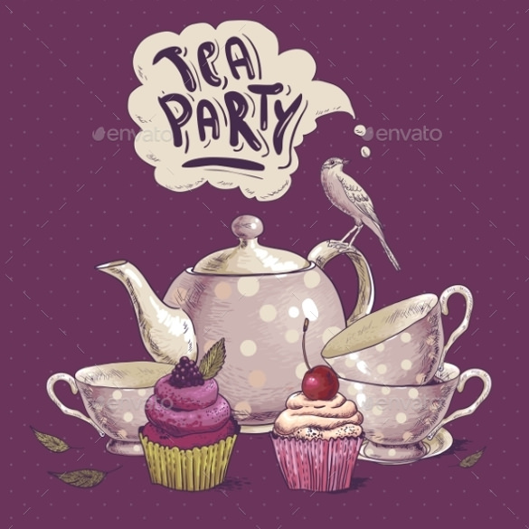 tea party invitation card with a cupcake and pot