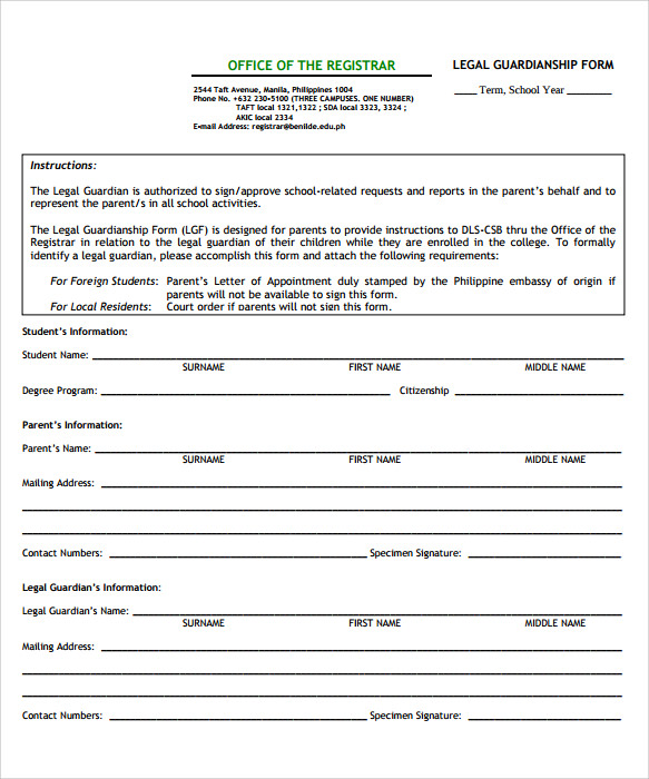 free printable legal guardianship form