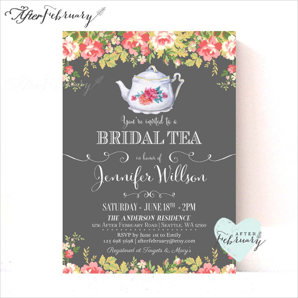 Kitchen Tea Invitation Templates Free Download: Tea Party Invitation Template
