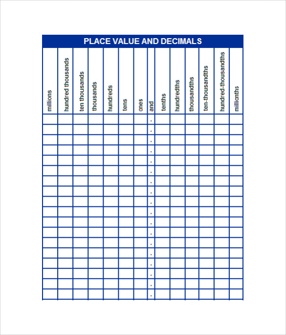 Sample Place Value Chart 8 Free Documents In Pdf Word