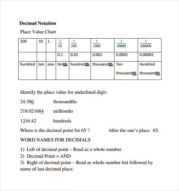 Common Worksheets Place Value With Decimals Worksheets Pdf – Decimals Worksheets Pdf