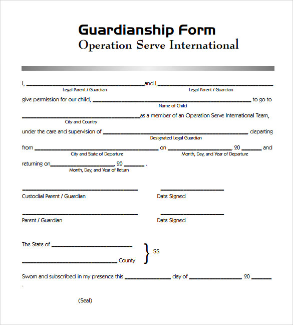 free sample legal guardianship form