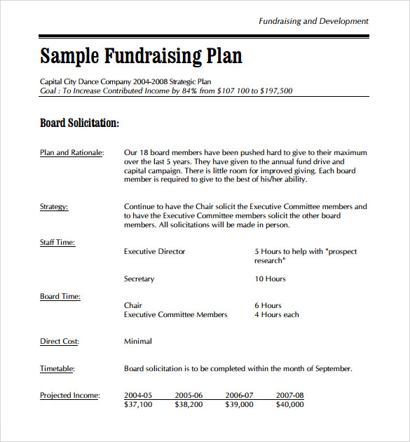 9 development plan templates to free download sample for Fundraising strategic plan template