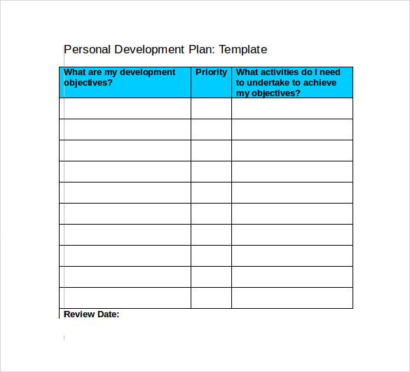 Development Plan Template – Example of a Personal Development Plan Sample