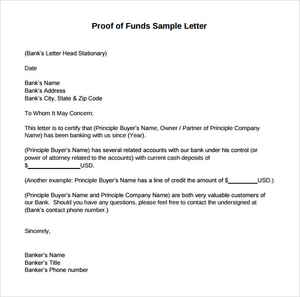 Sample Proof Of Funds Letter   Download Free Documents In Pdf  Word