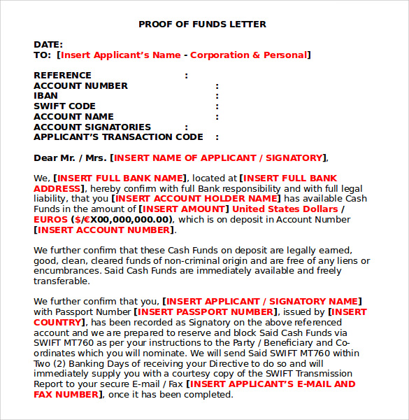proof of funds letter 7 proof of funds letters to for free sample 1551