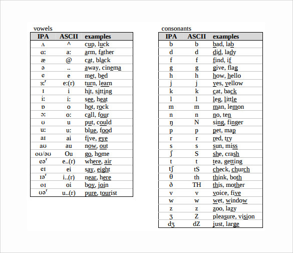 Sample Phonetic Alphabet Chart 5 Documents in PDF Word – International Phonetic Alphabet Chart