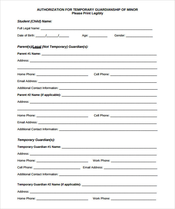 temporary will template - free printable temporary guardianship form the temporary
