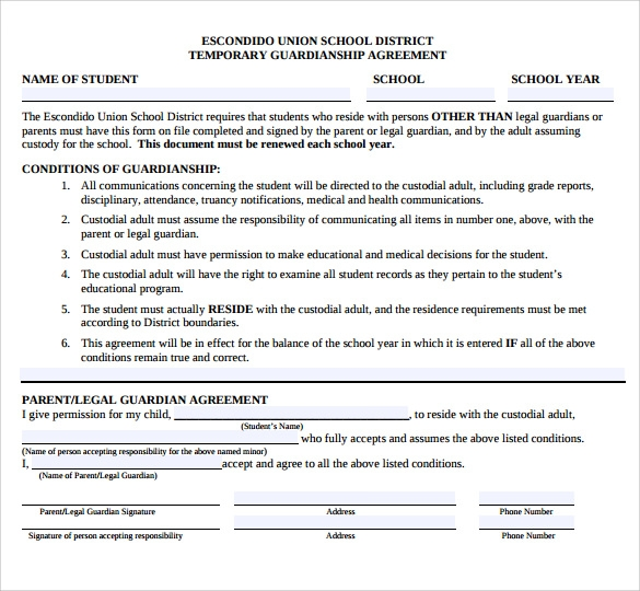 Free printable temporary guardianship form the temporary for Temporary power of attorney template