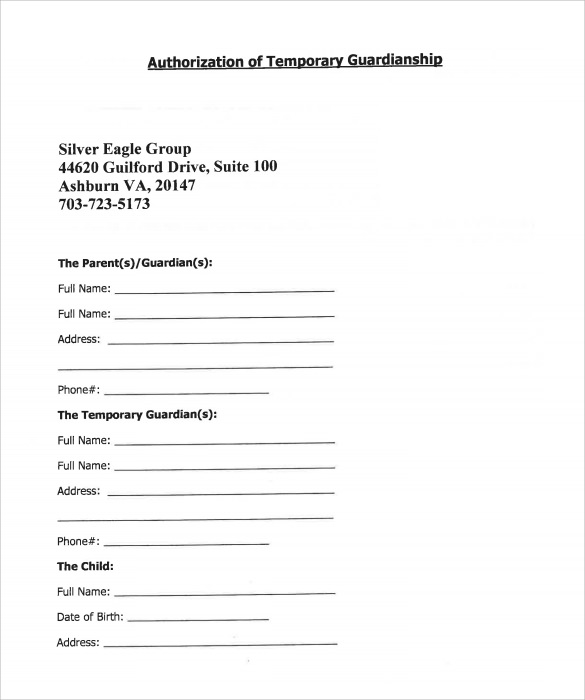 Sample Temporary Guardianship Form 8 Download Documents in PDF – Temporary Guardianship Forms