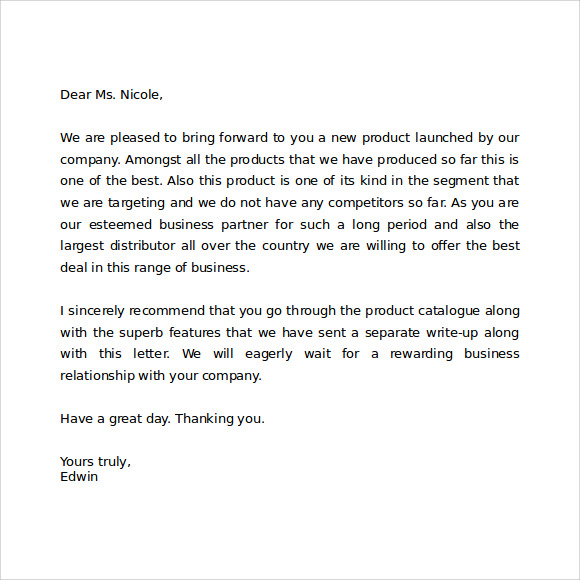 Sample Formal Business Letter Word Free