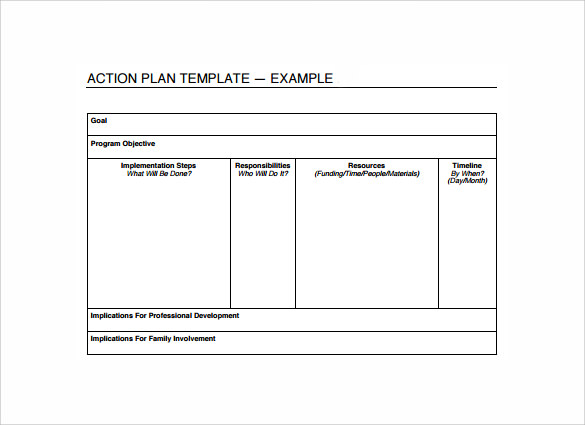 Sample Plan of Action Templates 6 Free Documents in PDF Word – Example Action Plan Template