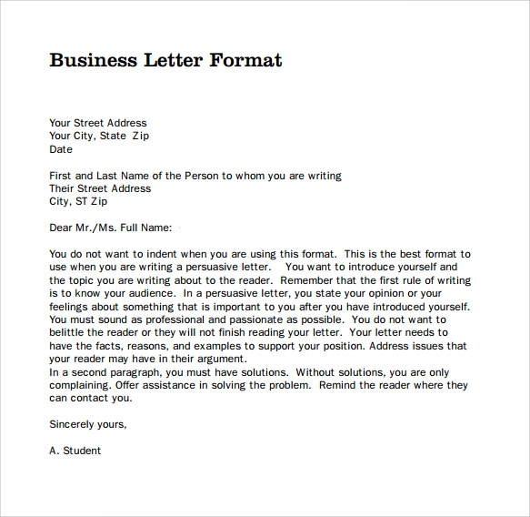 Sample Professional Business Letter   Documents In Pdf Word