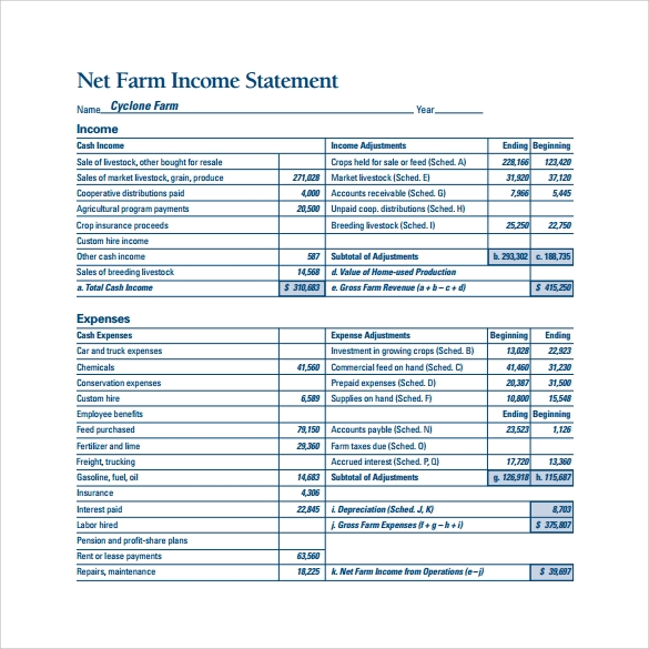 9  income statement example templates