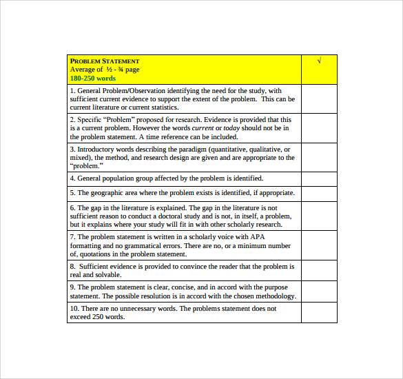 Problem Statement Checklist