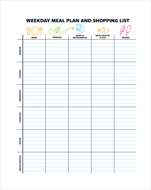 Sample menu planning template 9 free documents in pdf word weekday menu planning template maxwellsz