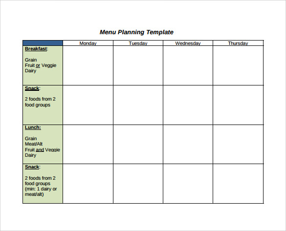Sample Menu Planning Template   Free Documents In Pdf Word