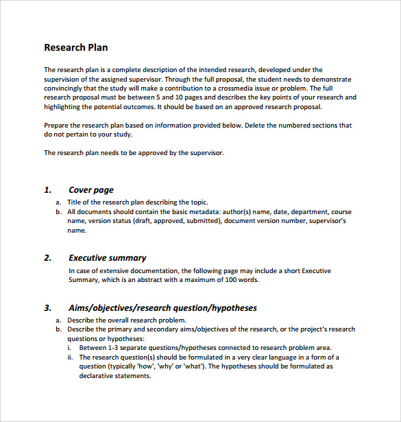 sample research plan template 7 free documents in pdf word