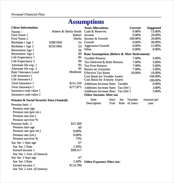 Personal Plan Template Sample Comprehensive Personal Financial