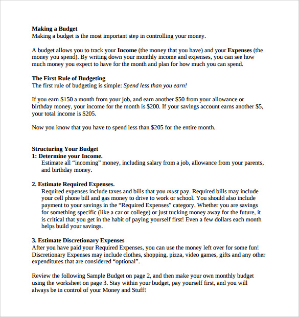 Sample Budget Plan   Examples Format