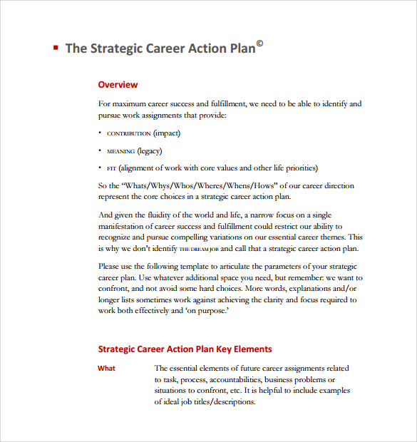 Sample Career Plan   Documents In Pdf Word