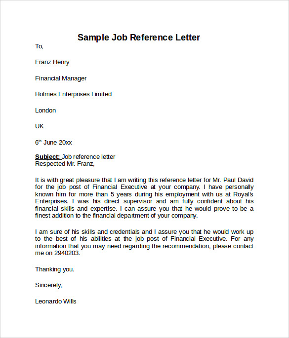 Sample Reference Letters  Job Reference Form Template