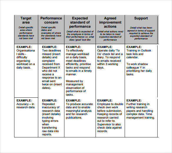 performance improvement plan template