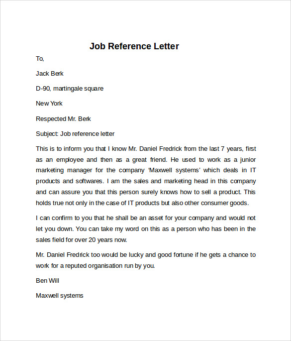 simple job reference letter