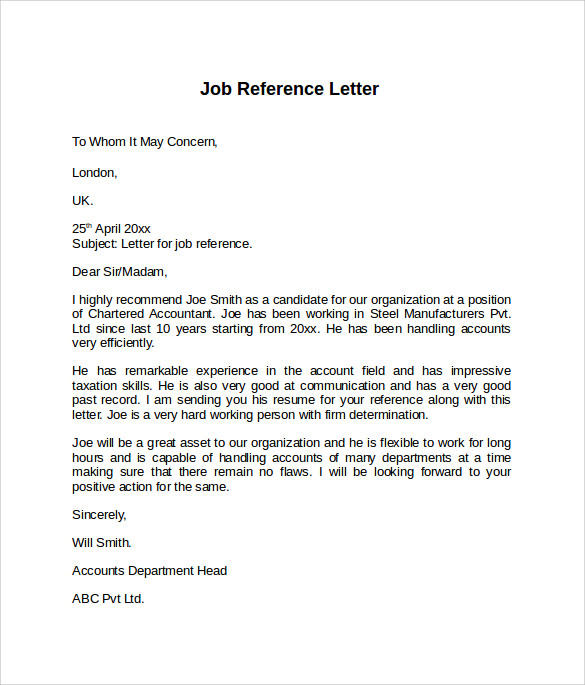 Job Reference Letter 7 Free Samples Examples Formats – Job Reference Letter Template