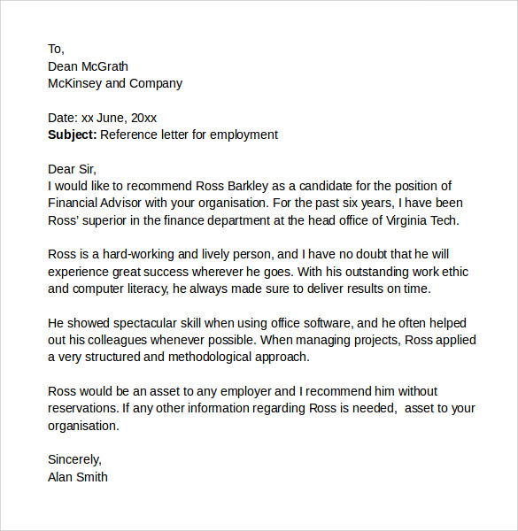 Sample Reference Letter For Employment  Example Reference Letter For Employee
