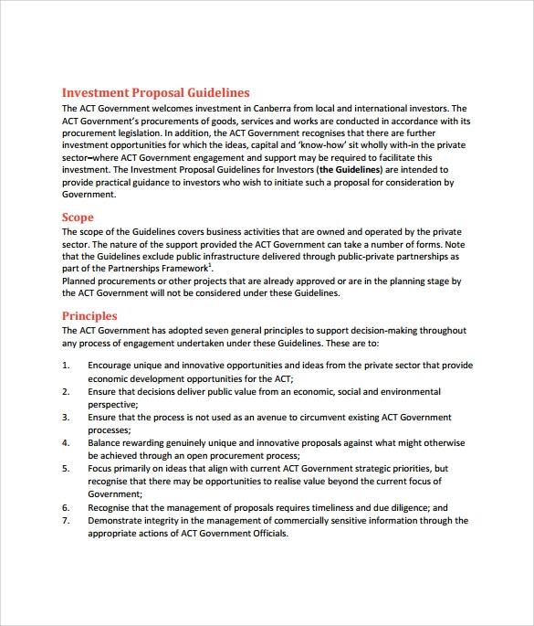 Business investment proposal sample pdf