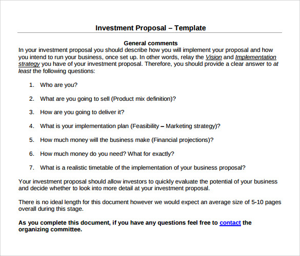 simple investment proposal template