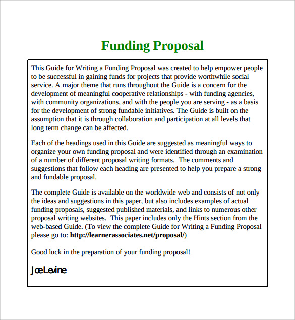 Fundraising Proposal Sample  CityEsporaCo