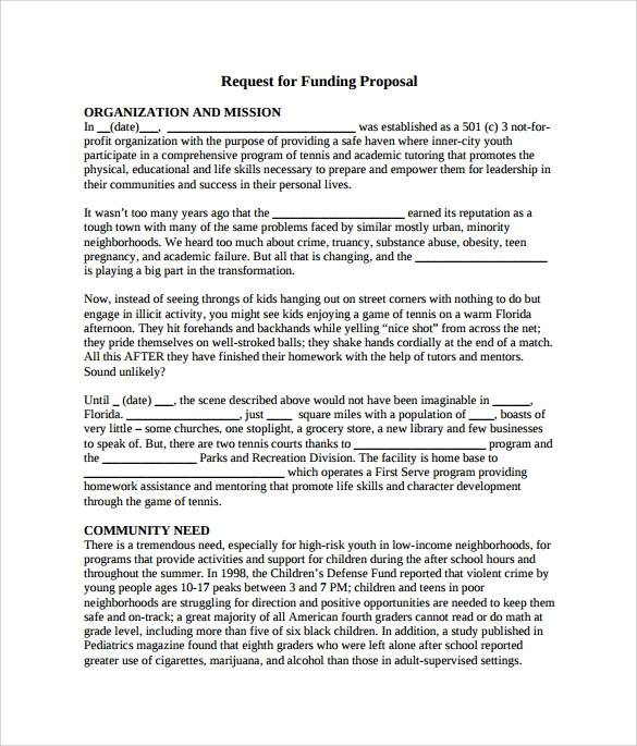 Sample Funding Proposal   Documents In Pdf Word