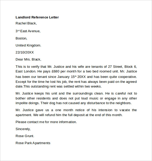 letter of work reference