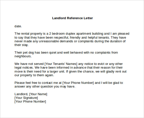 Landlord reference letter 6 download free documents in for Reference letter from landlord template