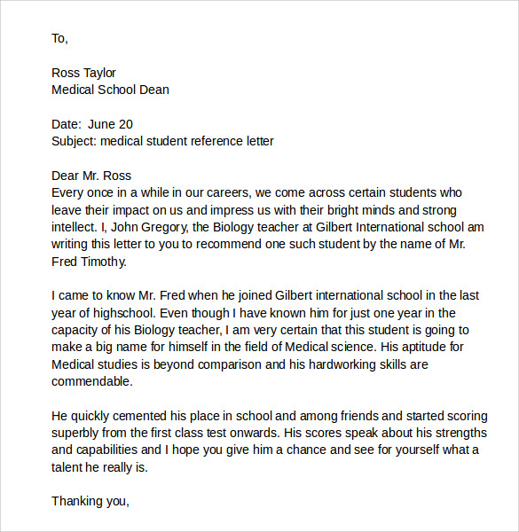 Sample Recommendation Letter For A Medical Student  Essay Writing
