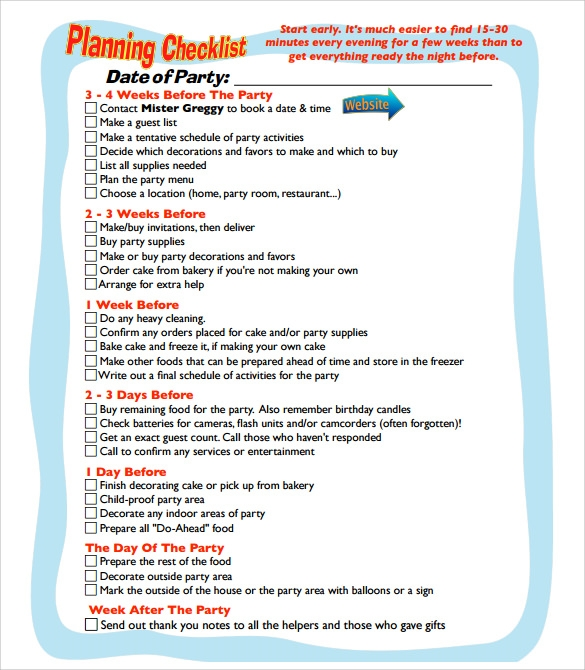 Party Planning Sample   Documents In Pdf