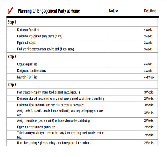 engagement party planning template